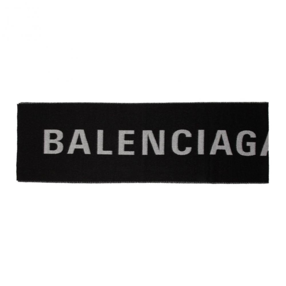 バレンシアガ レディース マフラー・スカーフ・ストール【Black & White Logo Scarf】