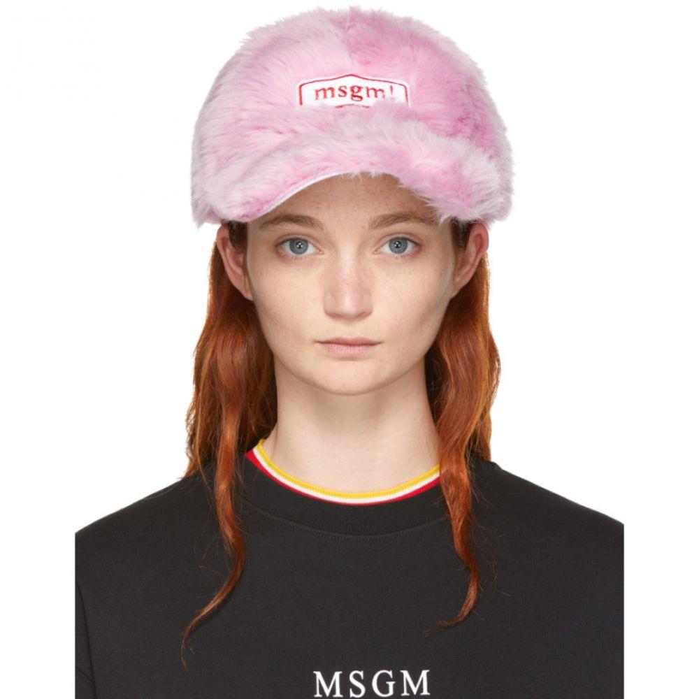 エムエスジーエム レディース 帽子 キャップ【Pink Faux-Fur Cap】