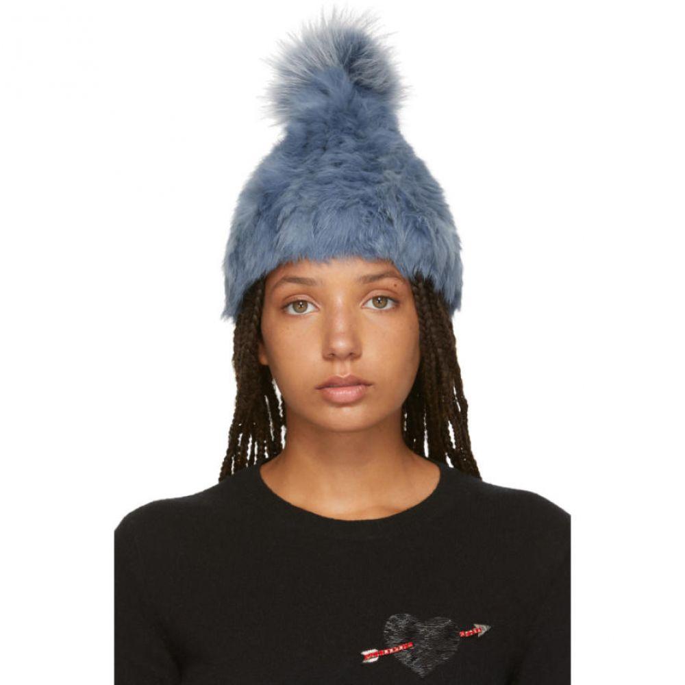 イヴ サロモン レディース 帽子 ニット【Blue Knitted Rabbit Pom Pom Beanie】