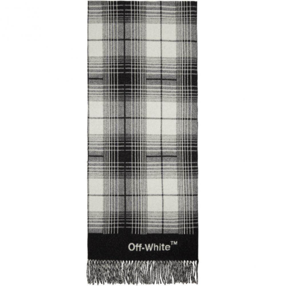オフ-ホワイト レディース マフラー・スカーフ・ストール【Black & White Check Blanket Scarf】