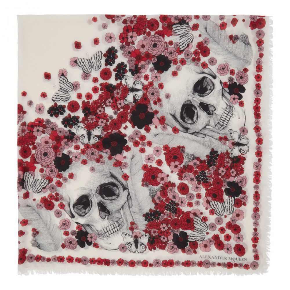 アレキサンダー マックイーン レディース マフラー・スカーフ・ストール【Ivory & Red Muse Skull Scarf】