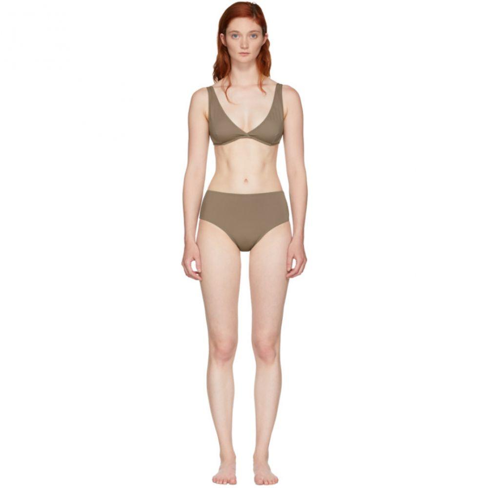 ソリッド&ストライプ レディース 水着・ビーチウェア 上下セット【Brown 'The Beverly' Bikini】