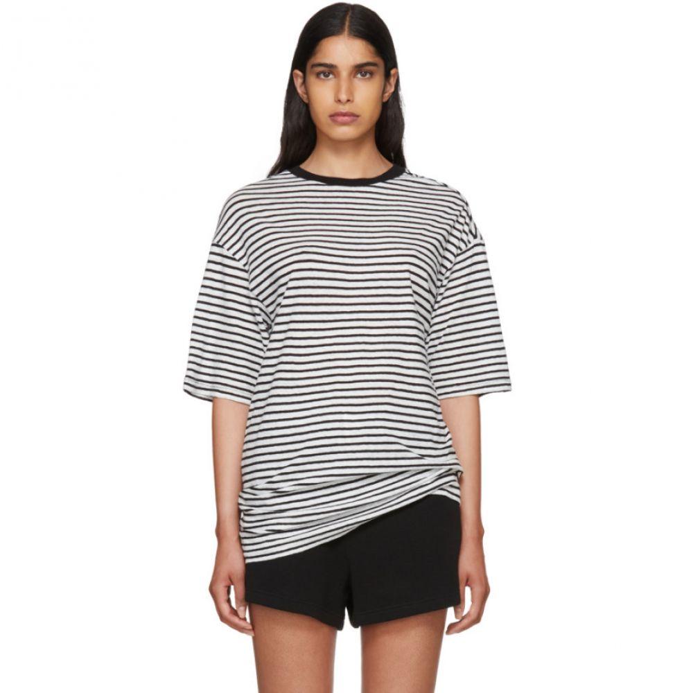 アール サーティーン レディース トップス Tシャツ【Black & White Striped Oversized Boyfriend T-Shirt】