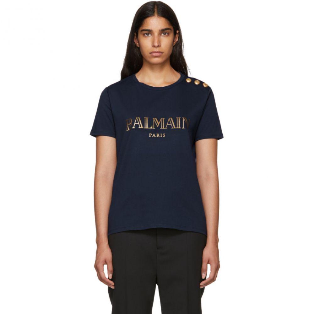 バルマン レディース トップス Tシャツ【Navy Logo T-Shirt】