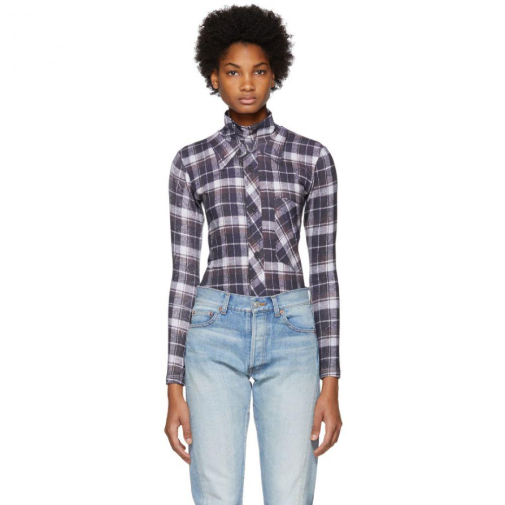 ヴェトモン レディース インナー・下着 ボディースーツ【White Check Shirt-Print Bodysuit】