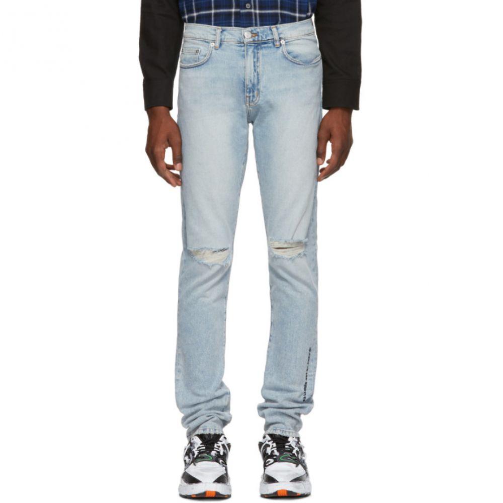 アダプテーション メンズ ボトムス・パンツ ジーンズ・デニム【Blue Slim Ripped Skinny Jeans】
