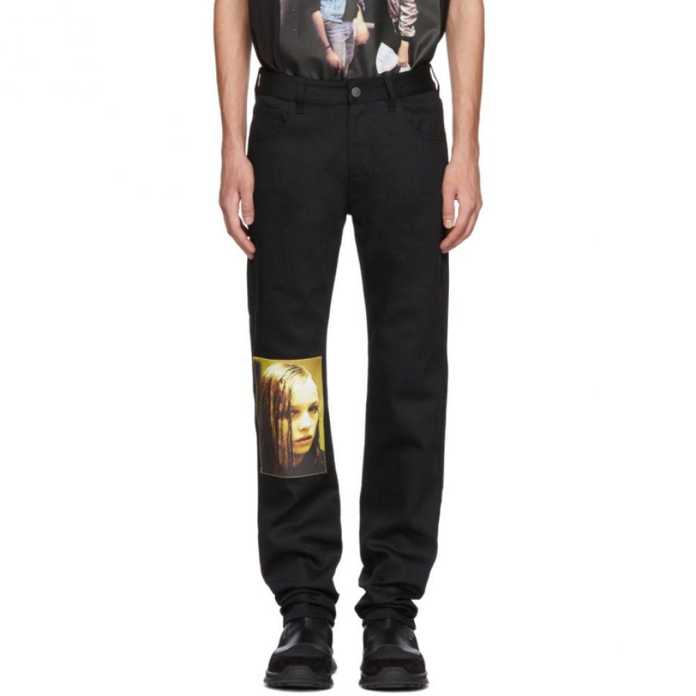 ラフ シモンズ メンズ ボトムス・パンツ ジーンズ・デニム【Black Christiane F. Wet Hair Patch Regular Jeans】