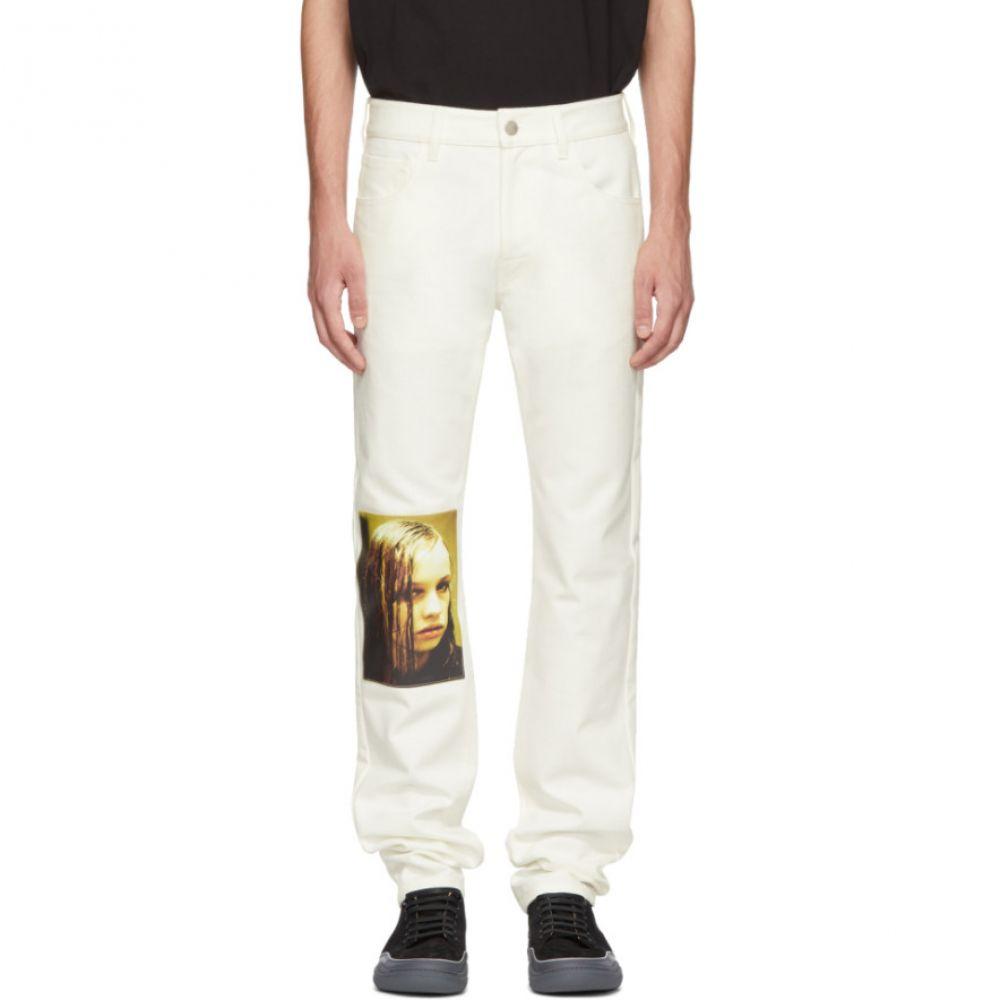 ラフ シモンズ メンズ ボトムス・パンツ ジーンズ・デニム【White Christiane F. Wet Hair Patch Regular Jeans】