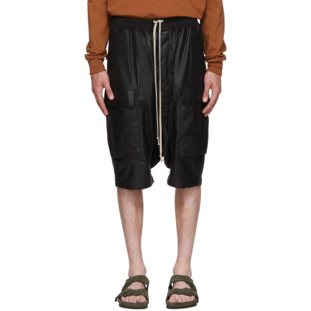 リック オウエンス メンズ ボトムス・パンツ ショートパンツ【Black Leather Rick's Pods Shorts】