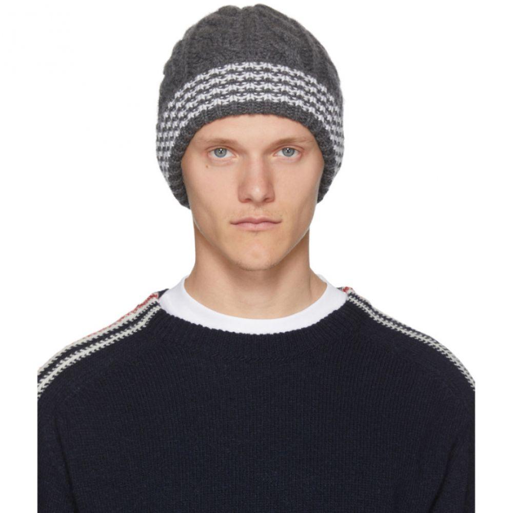 トム ブラウン メンズ 帽子 ニット【Grey Cashmere Cable Knit Four Bar Beanie】