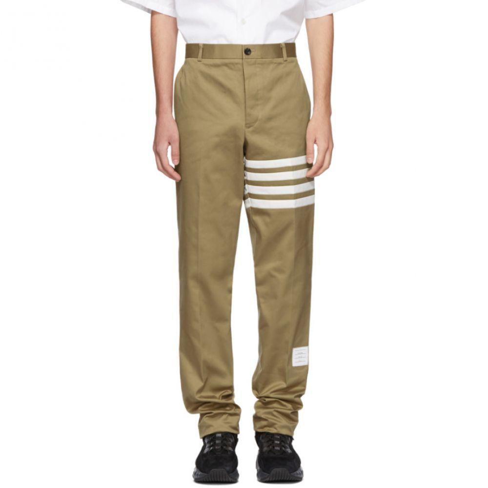 トム ブラウン メンズ ボトムス・パンツ チノパン【Beige Seamed Four Bar Unconstructed Chino Trousers】