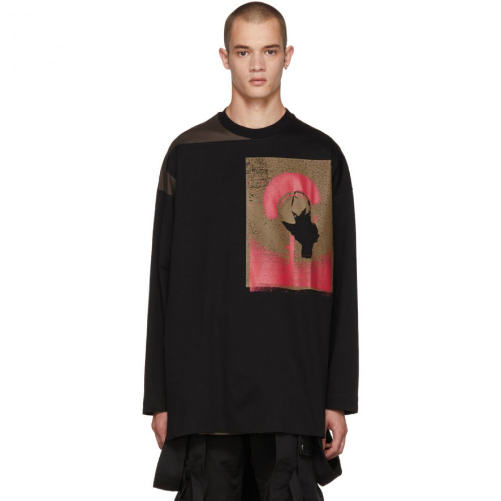 オールモストブラック メンズ トップス【Black & Khaki Painting Top】