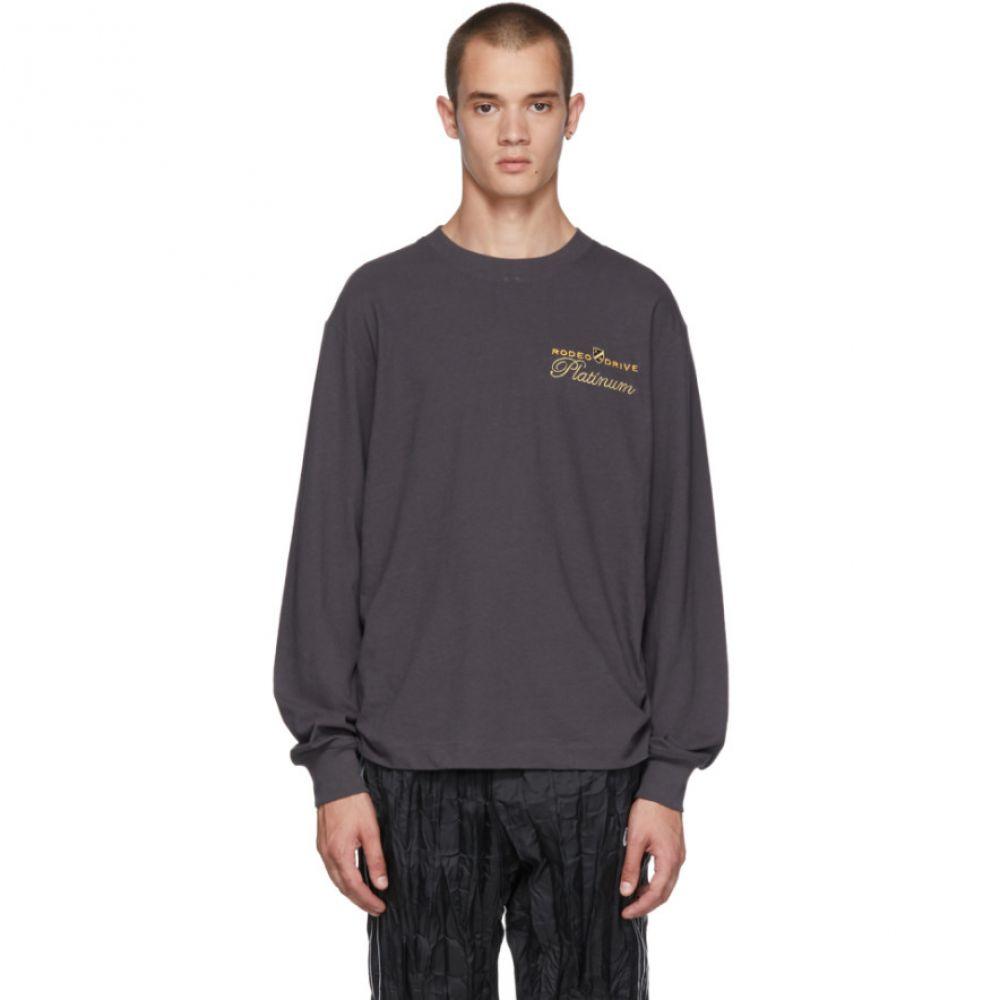 アレキサンダー ワン メンズ トップス 長袖Tシャツ【Black Long Sleeve 'Rodeo Drive Platinum' T-Shirt】