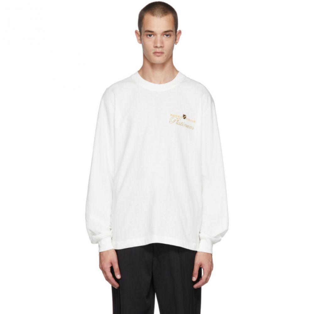 アレキサンダー ワン メンズ トップス 長袖Tシャツ【White Long Sleeve 'Rodeo Drive Platinum' T-Shirt】