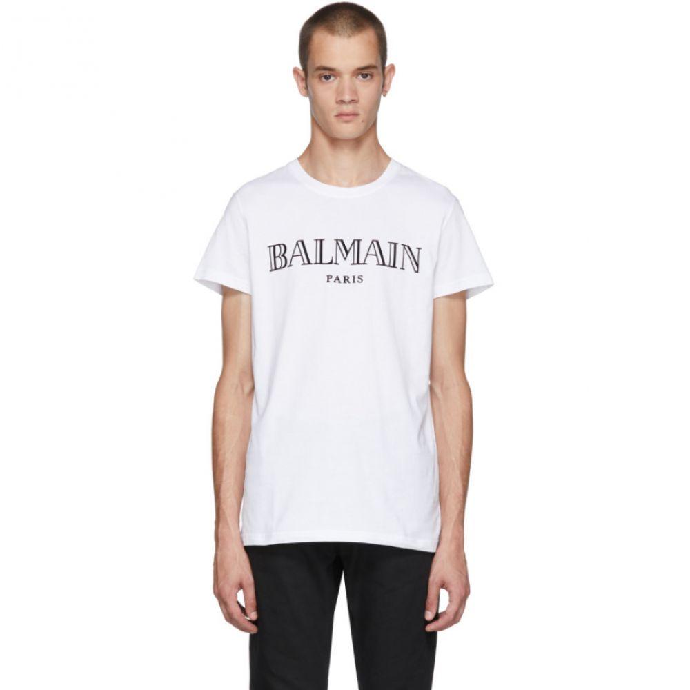 バルマン メンズ トップス Tシャツ【White Logo T-Shirt】