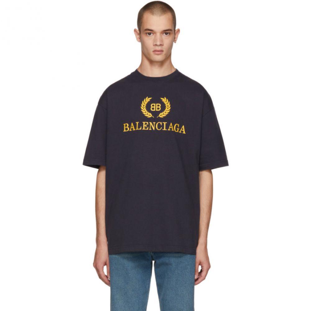 バレンシアガ メンズ トップス Tシャツ【Navy BB T-Shirt】