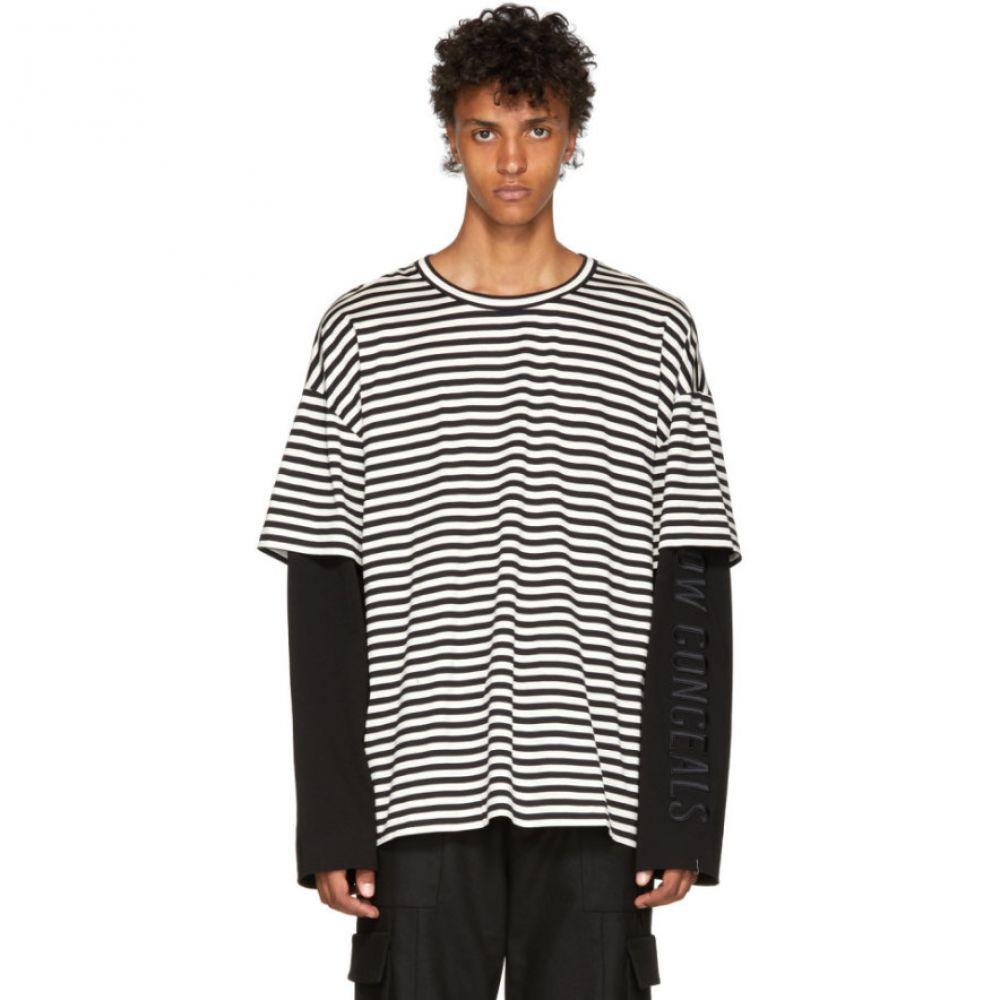 ジュン.J メンズ トップス Tシャツ【Black & White Striped Layered Sleeve T-Shirt】