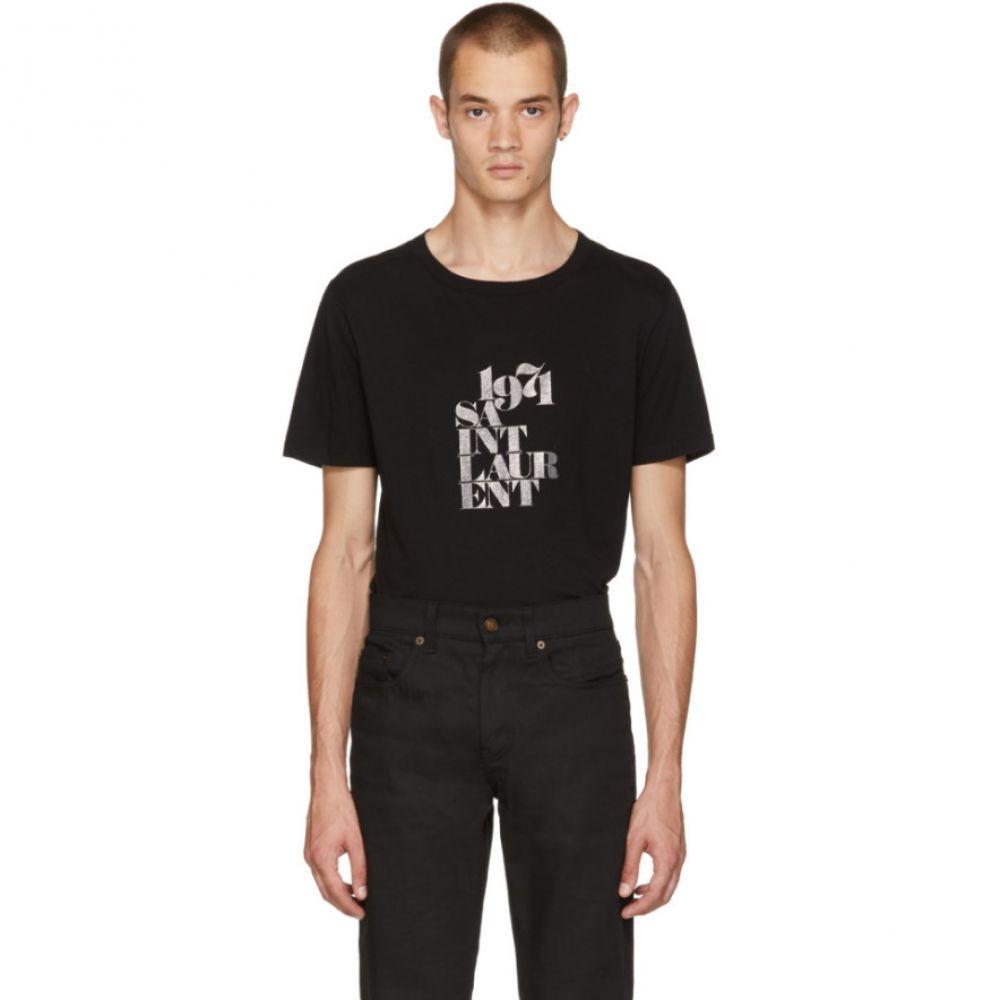 イヴ サンローラン メンズ トップス Tシャツ【Black '1971' Rive Gauche T-Shirt】