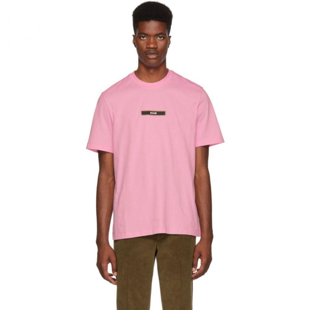 エムエスジーエム メンズ トップス Tシャツ【Pink Logo T-Shirt】