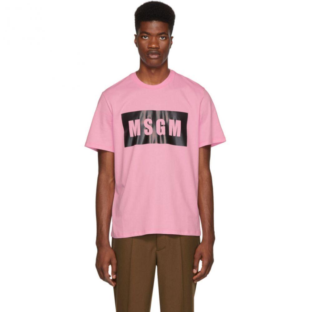 エムエスジーエム メンズ トップス Tシャツ【Pink Panel Logo T-Shirt】