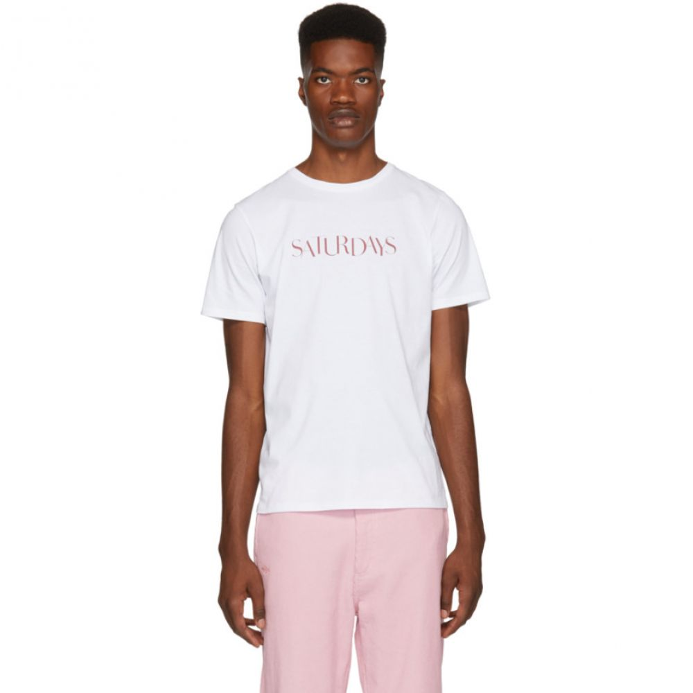 サタデーニューヨーク Saturdays NYC メンズ トップス Tシャツ【White Miller Sans 'Saturday' T-Shirt】