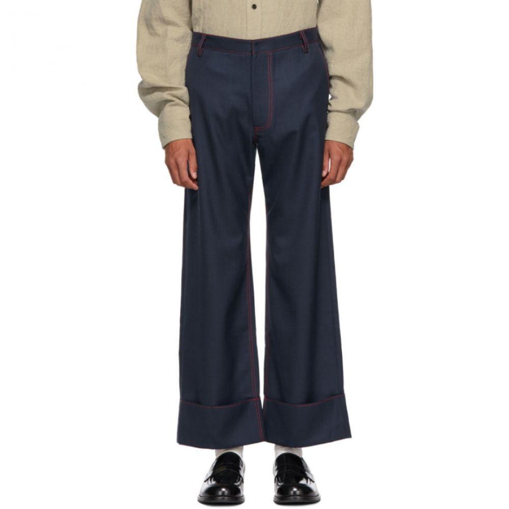 チン メンズ Chin Mens メンズ ボトムス・パンツ【Navy & Red Patch Pocket Trousers】
