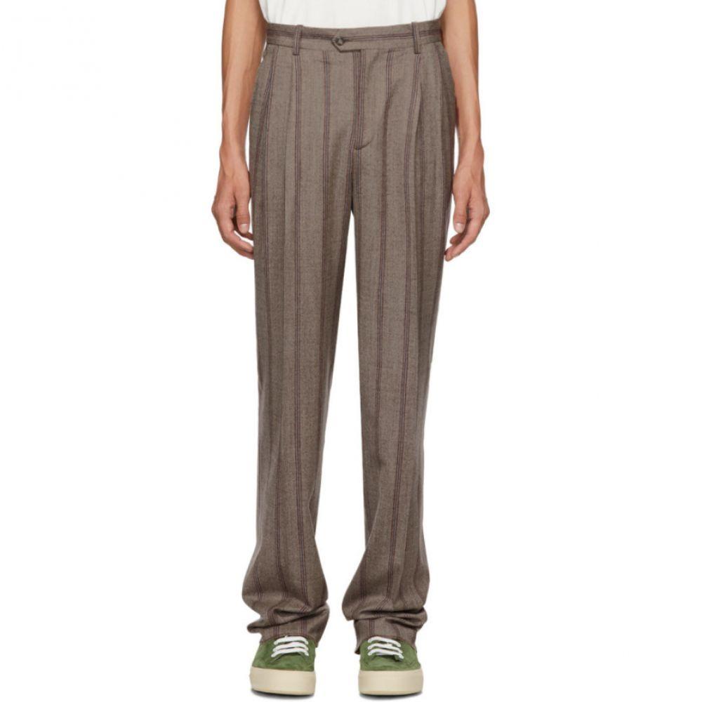 エディションズ エムアール Editions M.R メンズ ボトムス・パンツ【Brown Stripe High-Waisted Trousers】