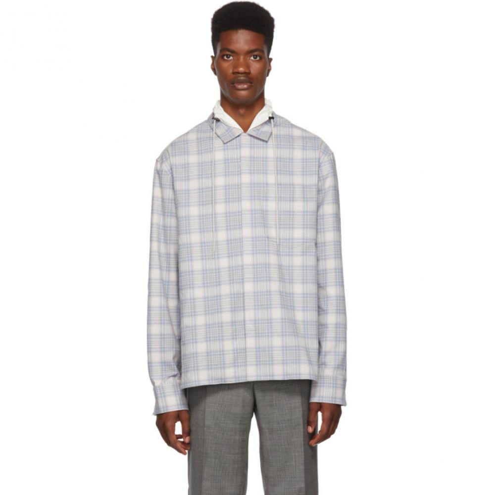 ランバン Lanvin メンズ トップス シャツ【Blue & White Checkered High Collar Shirt】