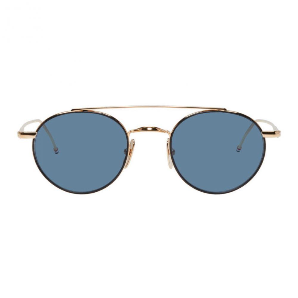 トム ブラウン Thom Browne レディース メガネ・サングラス【Gold & Blue TB-101 Sunglasses】
