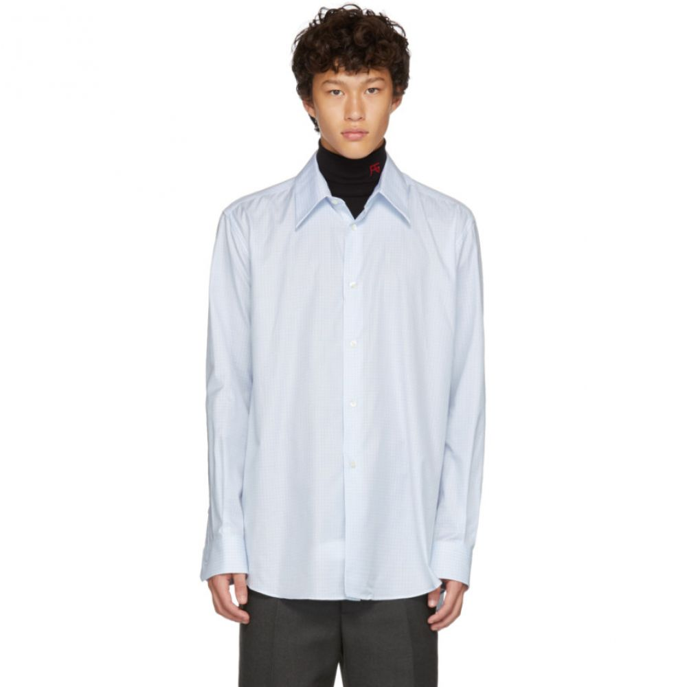 ラフ シモンズ Raf Simons メンズ トップス シャツ【White & Blue Plastic Yoke Shirt】