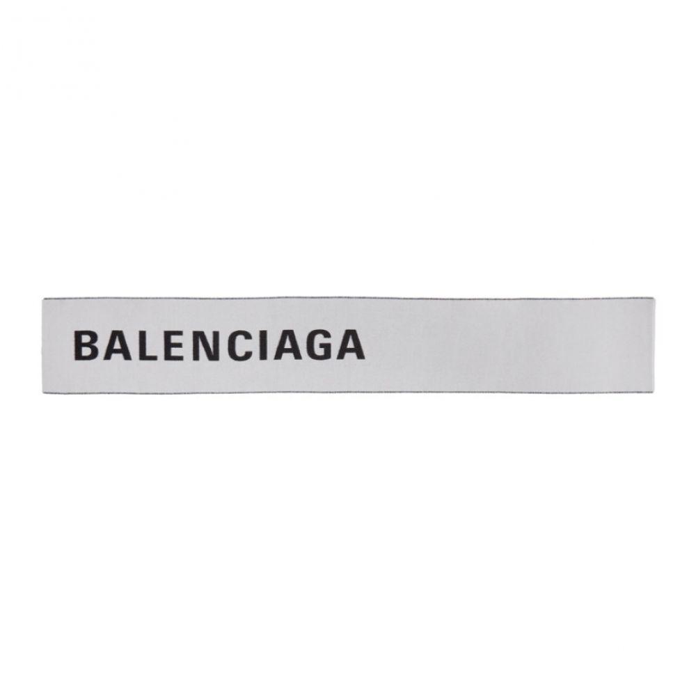 バレンシアガ Balenciaga メンズ マフラー・スカーフ・ストール【White & Black Large Logo Scarf】