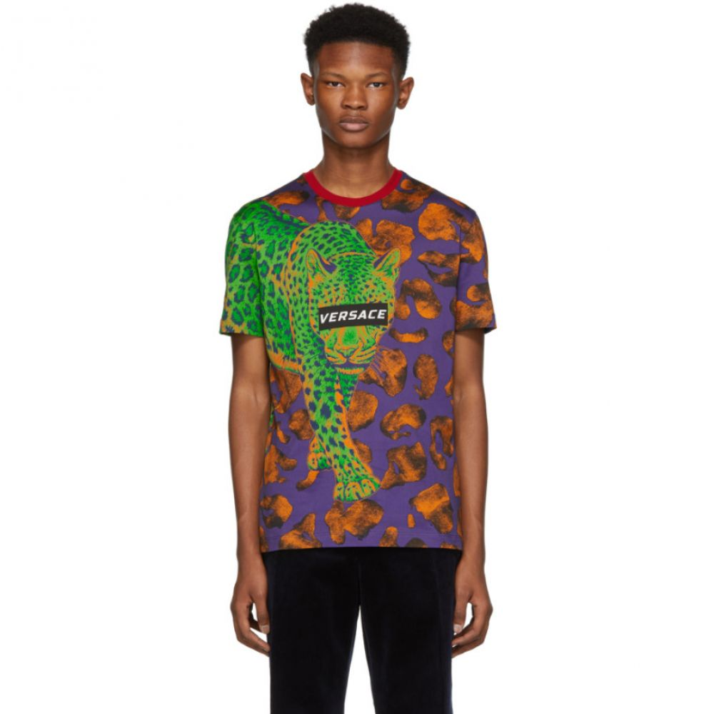 ヴェルサーチ Versace メンズ トップス Tシャツ【Multicolor Leopard T-Shirt】