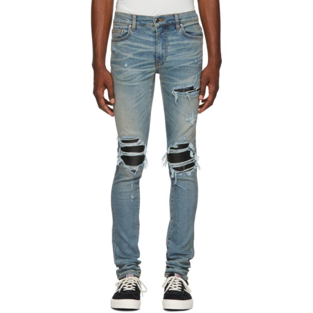 アミリ Amiri メンズ ボトムス・パンツ ジーンズ・デニム【Blue & Black Leather Patch MX-1 Jeans】