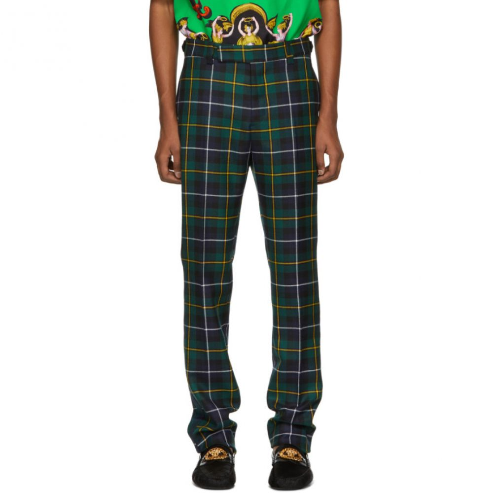 Trousers】 Versace ヴェルサーチ メンズ ボトムス・パンツ【Green Plaid