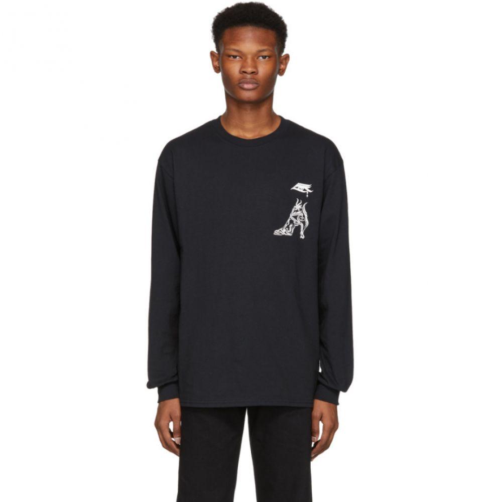 トーガ Toga Virilis メンズ トップス 長袖Tシャツ【Black Print Long Sleeve T-Shirt】