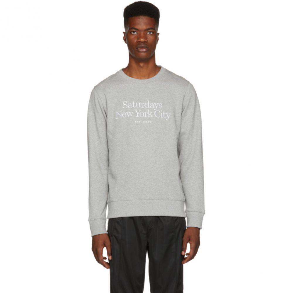 サタデーニューヨーク Saturdays NYC メンズ トップス スウェット・トレーナー【Grey Bowery Miller Standard Embroidered Sweatshirt】