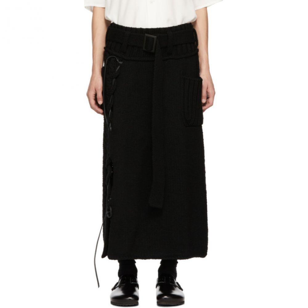 ヨウジヤマモト Yohji Yamamoto メンズ ボトムス・パンツ【Black Leather String Skirt】