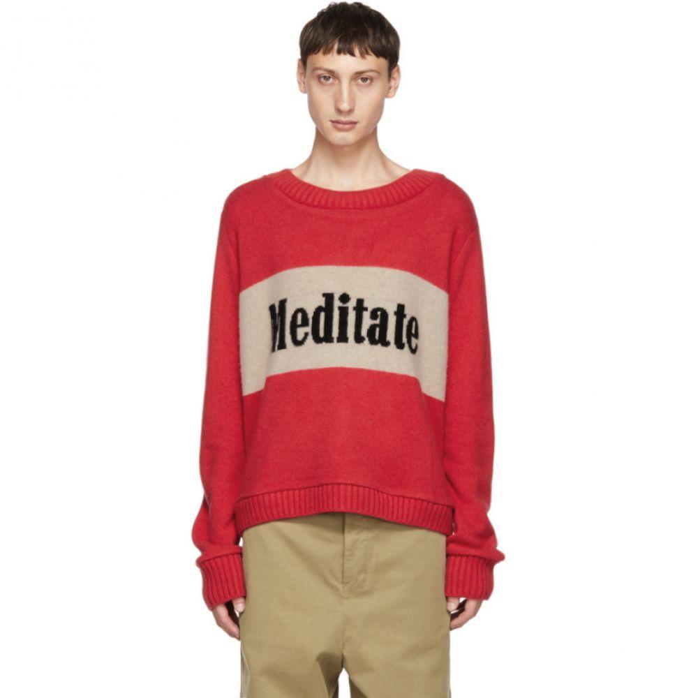 ジ エルダー ステイトマン The Elder Statesman メンズ トップス ニット・セーター【Red & Beige Cashmere 'Meditate' Sweater】