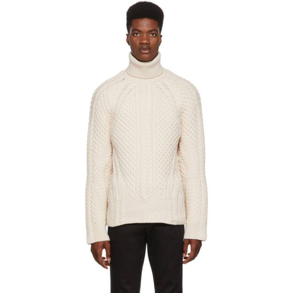 アレキサンダー マックイーン Alexander McQueen メンズ トップス ニット・セーター【White Cable Knit Turtleneck】