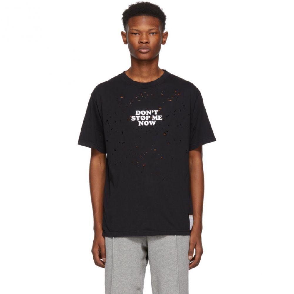 サティスフィ Satisfy メンズ トップス Tシャツ【Black 'Don't Stop' Moth Eaten T-Shirt】