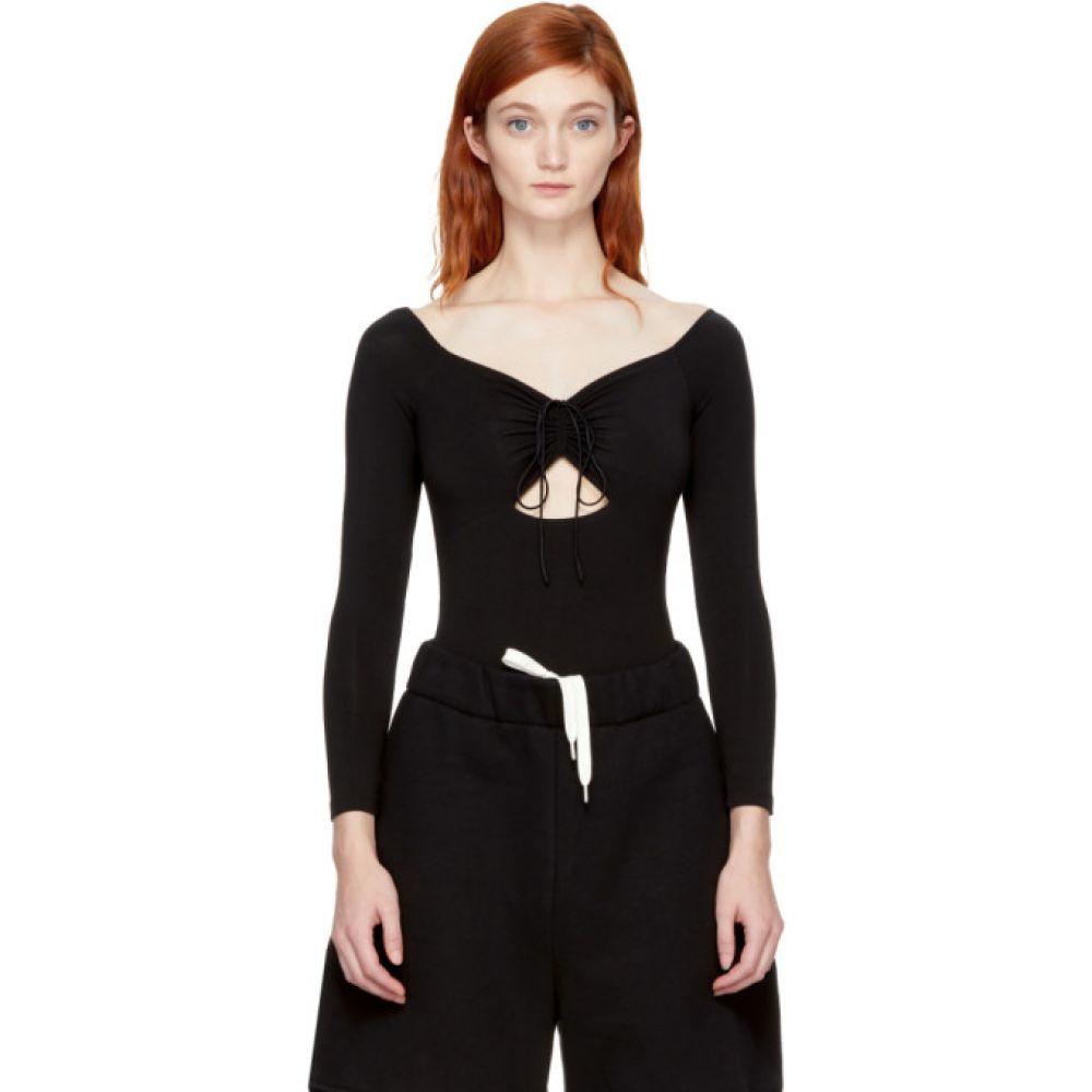 アレキサンダー ワン T by Alexander Wang レディース インナー・下着 ボディースーツ【Black Lace-Up Off-the-Shoulder Bodysuit】
