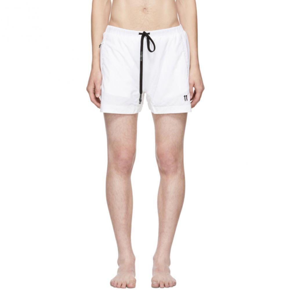 ボリス ビジャン サベリ 11 by Boris Bidjan Saberi メンズ 水着・ビーチウェア 海パン【White Embroidered Logo Swim Shorts】