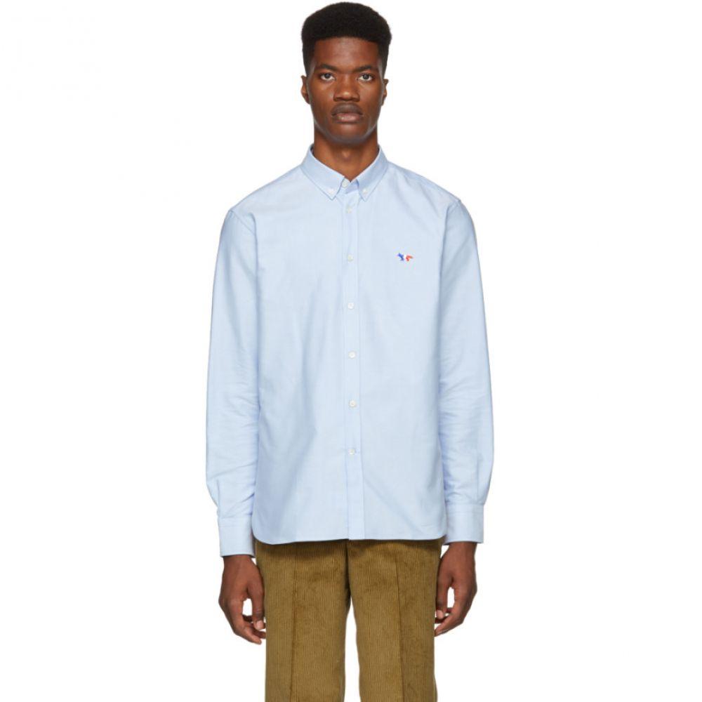 メゾン キツネ Maison Kitsune メンズ トップス シャツ【Blue Oxford Tricolor Patch Shirt】