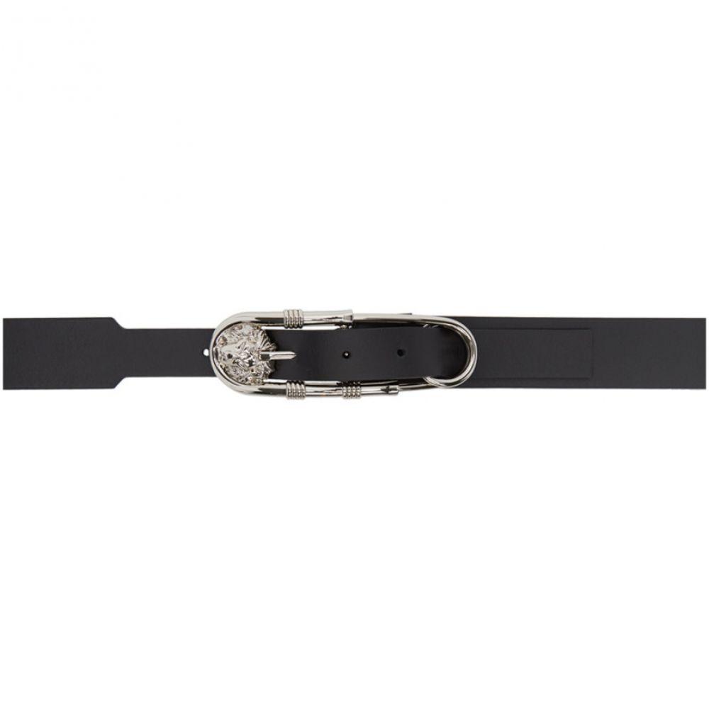 ヴェルサーチ Versus レディース ベルト【Black & Silver Oversized Safety Pin Belt】