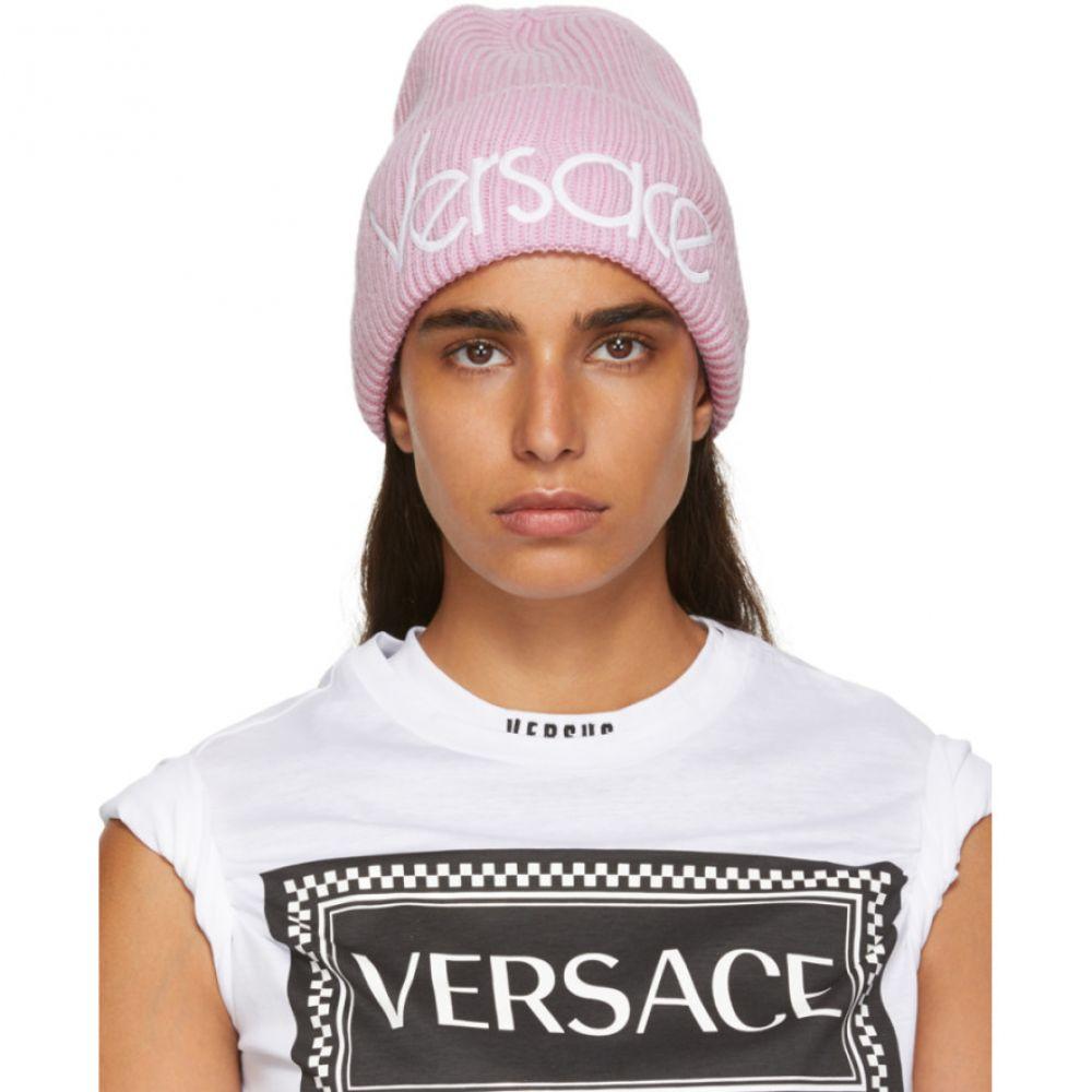 ヴェルサーチ Versace レディース 帽子 ニット【Pink Wool Logo Beanie】