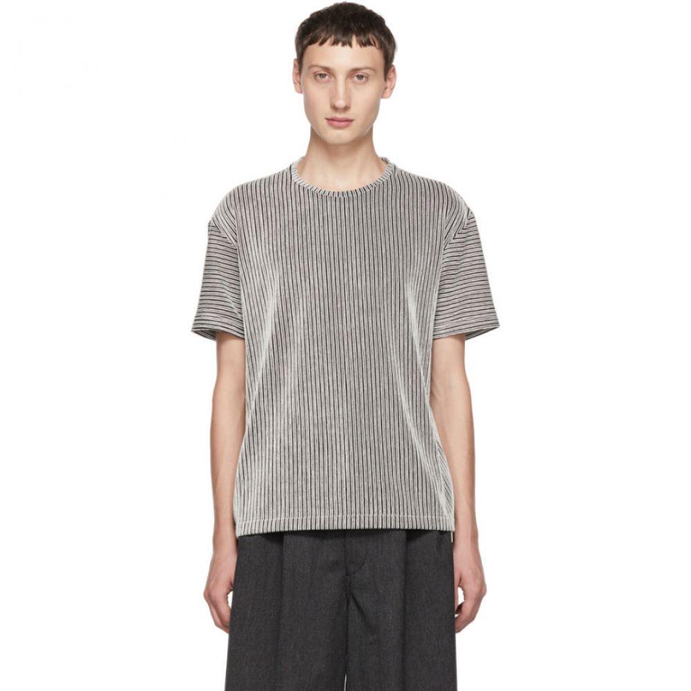 イッセイ ミヤケ Issey Miyake Men メンズ トップス Tシャツ【Black & White Striped Tuck T-Shirt】