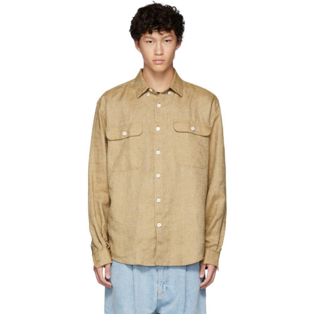 シュナイダーマン Schnayderman's メンズ トップス シャツ【Brown Linen Oversized Shirt】