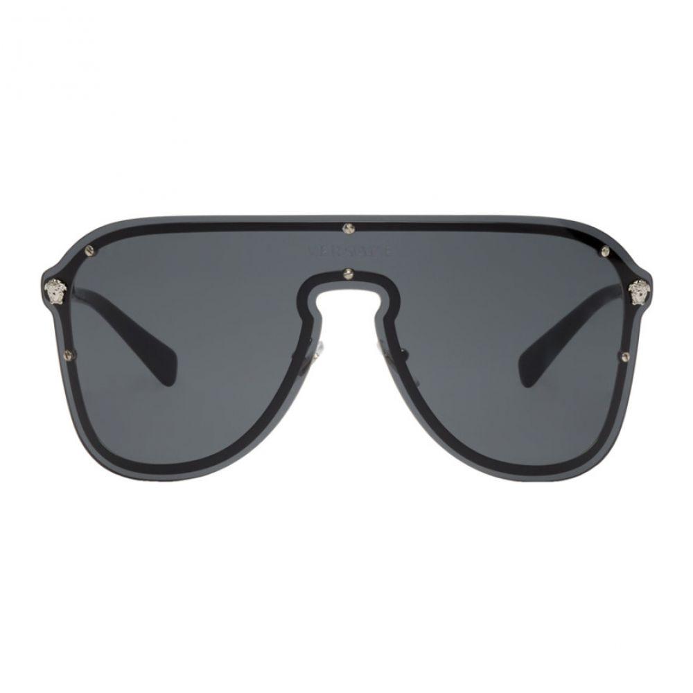 ヴェルサーチ Versace レディース メガネ・サングラス【Black Pilot Shield Hybrid Sunglasses】