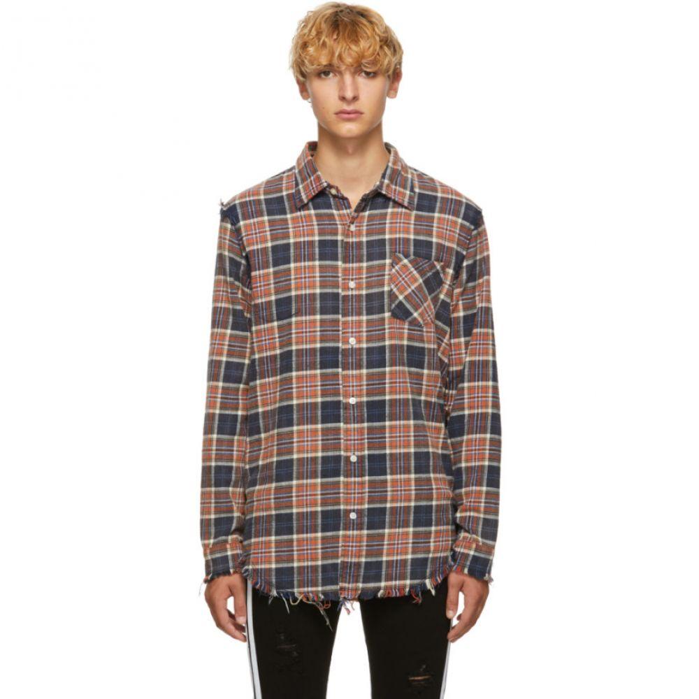 アール サーティーン R13 メンズ トップス シャツ【Blue Shredded Seam Shirt】
