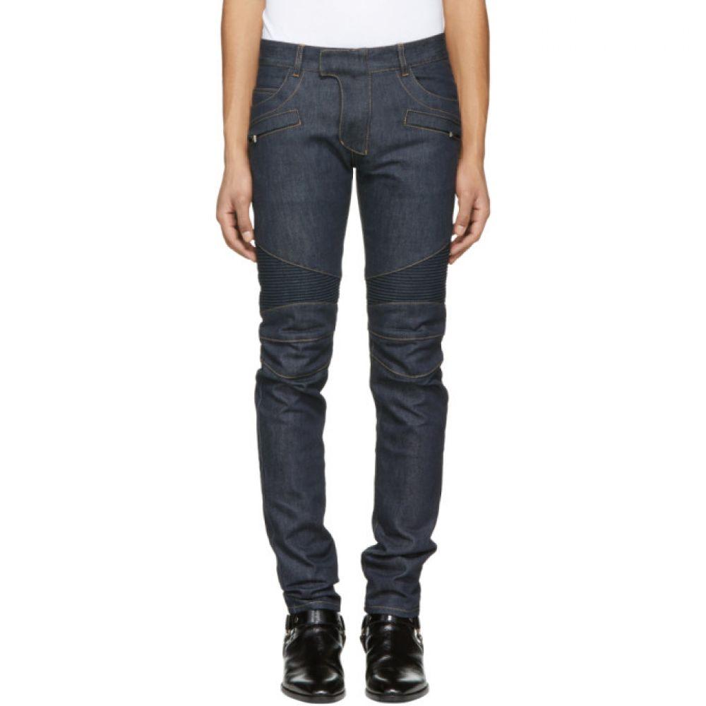 バルマン Balmain メンズ ボトムス・パンツ ジーンズ・デニム【Blue Raw Denim Biker Jeans】